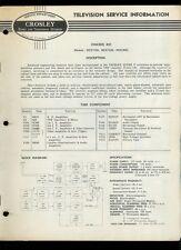 Super Rare Orig Canadian Crosley TV Service Manual GC21TOL HC21COL HC21HCL