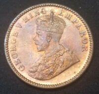 1933 C BRITISH INDIA UNC 1/4 ANNA KM# 512 HIGH GRADE BEAUTIFUL GEM RED COIN
