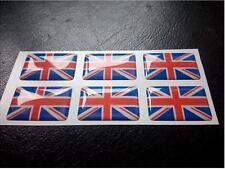 6 X Union Jack Drapeau résine 3D en Forme de Dôme autocollant Angleterre étiquette 27 mm x 16 mm hydrofuge