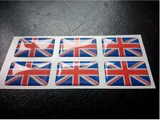 6 X 3D de resina de bandera Unión Jack Domed Inglaterra Etiqueta Adhesiva 27 Mm x 16 Mm Impermeable
