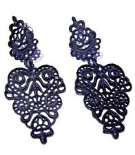 BLACK METAL FILIGREE HEART EARRINGS Victorian Gothic painted lace doily stud V2