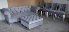 Grey Velvet Chesterfield three  sofa, footrest and matching dinning chairs - SET