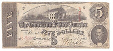1863 Confederate States of America Five Dollars Currency, Average Circulated!