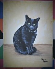 original acrylic on canvas painting of a black cat