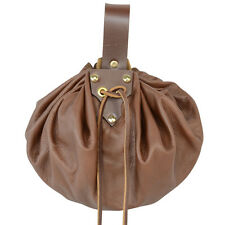 Medieval Large Round Pouch. Brown Bag ,COSPLAY, LARP,Steampunk,Renaissance