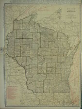 1922 LARGE AMERICA MAP ~ WISCONSIN SHOWING RAILROADS DOUGLAS ROCK ~ RAND MCNALLY