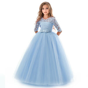 Kids Girls Tulle Dress Princess Flower Lace Flower Ruffles Pageant Evening Party
