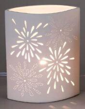 658753 Lampe Aurea Blume Oval 18 x 23cm Weiss NEU