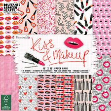 Dovecraft Papel 12x12 Pad-Kiss and make up-Cardmaking Scrapbooking Pack Completo