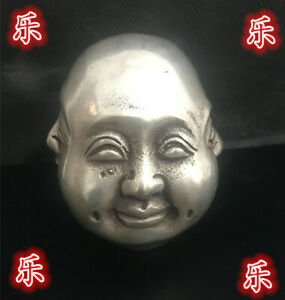 1Rare Chinese Tibet Brass 4 Faces Buddha Head Statue