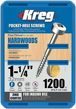 Kreg SPS-F125-1200 1-1/4-inch Fine Pan-Head Pocket Hole Screws, 1200-Pack