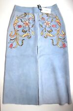 Vilshenko Blue Leather Suede Embroidered Skirt uk 8