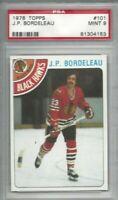 1978 Topps hockey card #101 J.P. Bordeleau, Chicago Blackhawks graded PSA 9