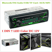 1Din 7 Led Color Car Bluetooth Fm Stereo Audio In-Dash Units Usb Tf Card Aux Mp3