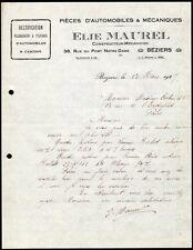 █ Facture 1925 ELIE MAUREL à Béziers Pièces d'automobiles et mécaniques Autos █