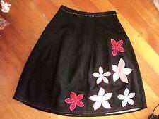 SALE  laura ashley black linen skirt floral applique