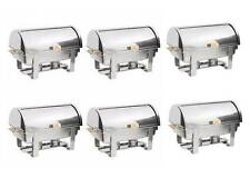 6 PACK Roll Top Stainless Steel DELUXE Chafer Chafing Dish Sets 8 QT Full Size