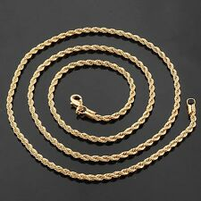 "Rope Necklace Fashion Jewelry 18k Rose Gold Filled Men/Women Link 24""Chain"