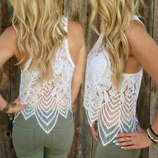 Fashion Womens Sleeveless Summer Lace Crochet Shirt Tank Tops Vest Blouse White