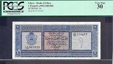 Libya p-30 , VF, 1 Pound, 1963 , PCGS Graded 30