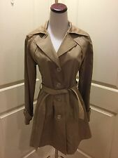 HAWKE & Co. Sz S Small STUNNING Glistening Gold Belted Chic V-Neck Jacket Coat