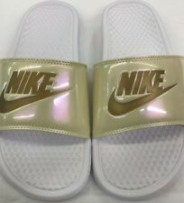 Nike Womens Benassi JDI Print Sliders Slip On Slides Sandals White Pearl Gold