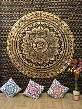 Flower Mandala Black Gold Queen Tapestry Fabric Cotton Bedcover Wall Hanging Art
