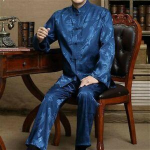 Men Dragon Print Chinese Tang Suit Kung Fu Shirt and Pants Tai Chi Uniform Retro