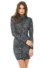 AX Paris Womens Bodycon Mini Dress Navy Blue Printed Long Sleeve High Neck Lady 10