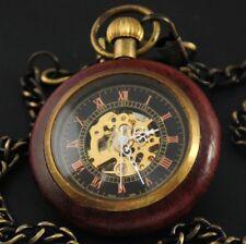 Antique Wood&Bronze Roman Numerals Hand Winding Mechanical Pendant Pocket Watch