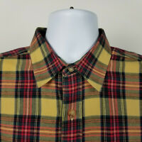 Orvis Mens Red Green Blue Brown Plaid Check Wool Dress Button Shirt Large L
