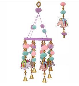 Unicorn Pom Pom Hanging Mobile Wind chime Baby Nursery Child Room Decor