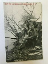 Tupper Lake New York NY Men Holding Big Fish Fishing Postcard