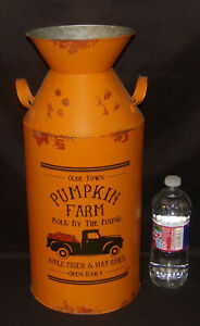 "Large Rustic Milk Can 18"" Orange Metal PUMPKIN FARM Milk Can FARMHOUSE DECOR New"