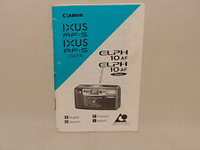 CANON IXUS AF-S AND ELPH 10AF INSTRUCTION BOOKLET