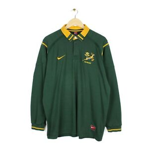 Nike South Africa 1999/00 Vintage Rugby Union Long Sleeve Green Shirt Jersey XL