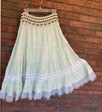 Soft Surroundings Gypsy Skirt XS Shell Belt Lined Boho Crochet Detail Maxi Beach