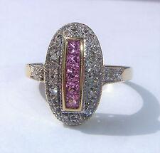 GRANDE Stile Art Deco 9ct Oro Rosa Zaffiro & Diamante Anello Ovale, Dimensione Q