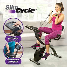 As Seen On TV Slim Cycle Stationary Bike - Folding Indoor Exercise Bike with Arm