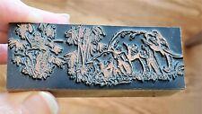 Unusual Vintage Copper On Wood Letterpress Print Block Jungle Elephants Pb45