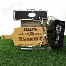 Personalised Fathers Day Gift Pack -BBQ Utensils, Chopping board, Schooner Glass