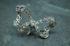 Diamond Bow Brooch/Pin W Suspension Loop Lovely Antique Art Deco Silver Gold &