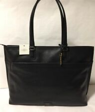 NWT Fossil JULIA Black Leather Carry All Handbag Shoppers Tote Work Bag Large