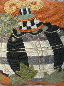 MacKenzie Childs - BEADED - Tartan Spice Pumpkin Pillow - Halloween Thanksgiving