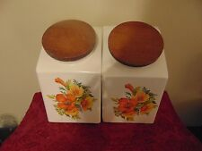 Mid century vtg. Hyalyn USA 199S 4pc. Canister set retro kitchen floral