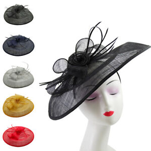 Large Flower Feather Hair Hat Fascinator Headband Wedding Royal Ascot Party