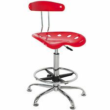 ABS Tractor Seat Adjustable Bar Stools Swivel Chrome Drafting Chair Modern Red