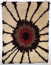 Mid-Century Shag Rug Hanging Wall Art Abstract Amoeba Starburst 1960s Vintage