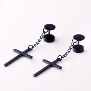 Stainless Steel Cross Drop Earrings Barbell Stud Earrings Men Jewelry