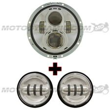 """7"""" LED Head Light + 4"""" Auxiliary Lamps Fits Harley Davidson Touring 2014+ CHROME"""